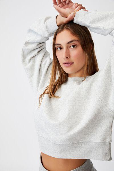 Classic Cropped Sweatshirt, LIGHT GREY MARLE