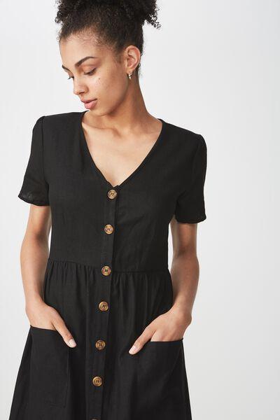 Woven Camila Button Through Midi Dress, BLACK