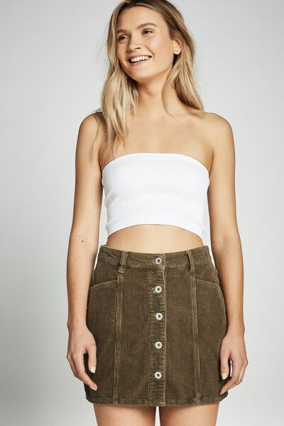 Charlie Cord Mini Skirt, SILVER OLIVE