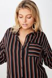 Curve Relaxed Shirt, DARIA STRIPE BLACK ARABIAN SPICE
