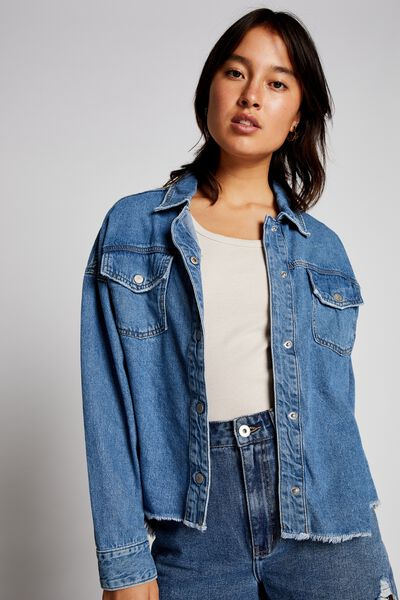 Popped Denim Shacket, BRIGHT BLUE
