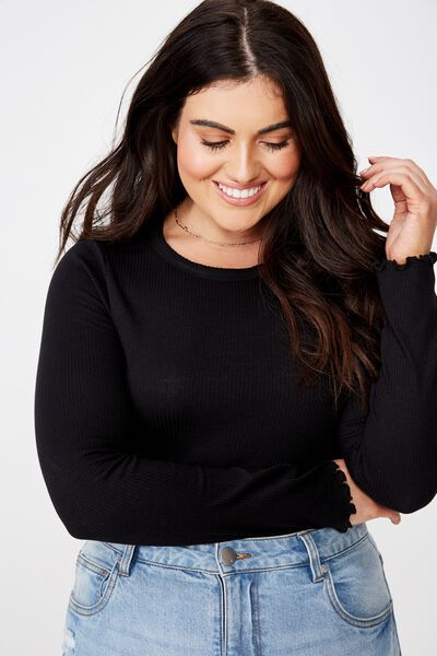 Curve Sister Long Sleeve Top, BLACK