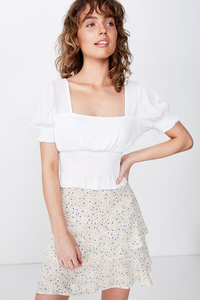 Woven Demi Frill Mini Skirt, HELENA DITSY CANNOLI BLUE