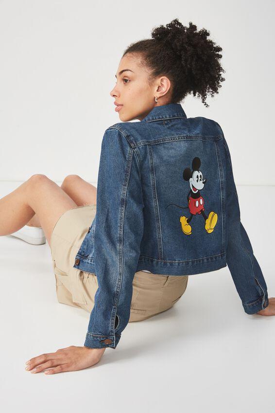 Mickey Girlfriend Denim Jacket, WASHED MID BLUE