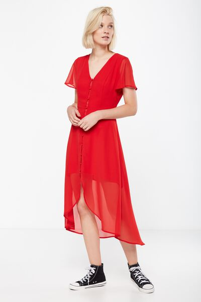 Woven Georgia Short Sleeve Maxi Dress, CHERRY RED