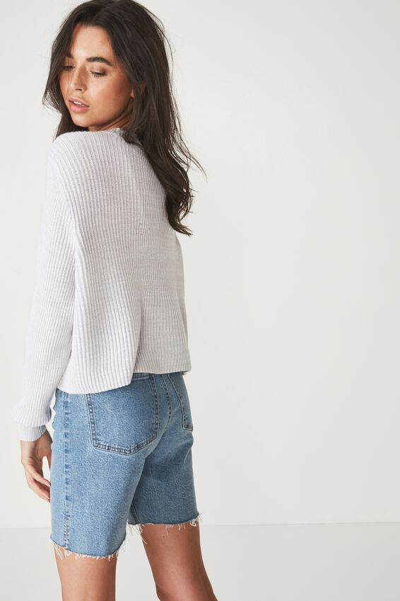 Archy Cropped 2 Pullover, WIND STREAM WHITE TWIST