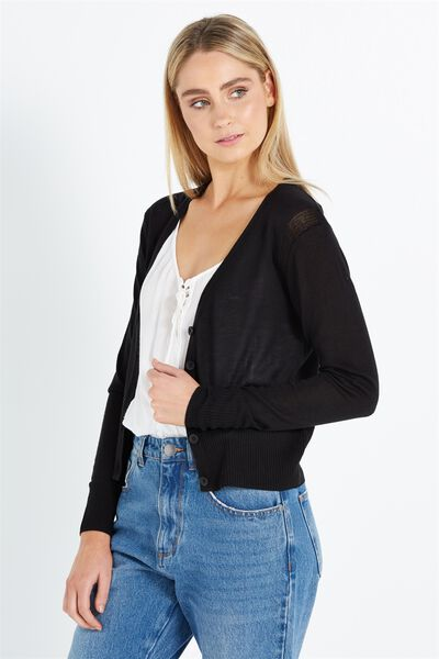 Cutesey 2 Button Through Cardi, BLACK