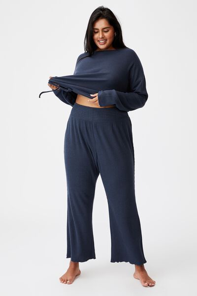 Curve Super Soft Rib Lounge Pant, MAGNET BLUE MARLE RIB