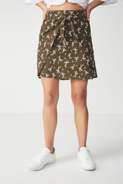 Woven Kelly Knot Front Mini Skirt, PATSY FLORAL DITSY BEECH