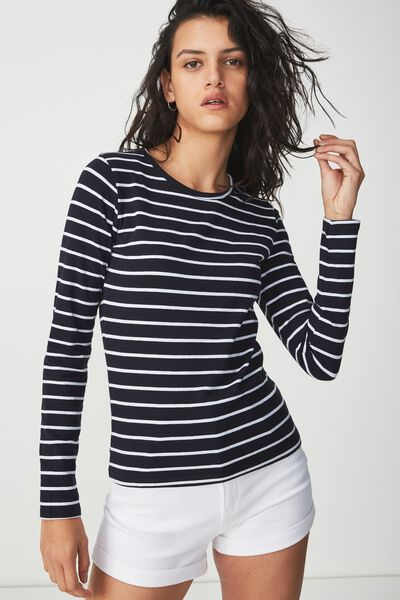 Everyday Long Sleeve Crew Neck Top, ARLO STRIPE DEEPEST NAVY/WHITE