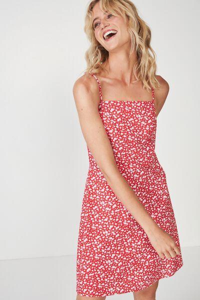 Woven Krissy Dress, HAVANA DITSY RED - L