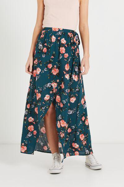 Woven Raya Wrap Maxi Skirt, ANTIQUE FLORAL DEEP TEAL