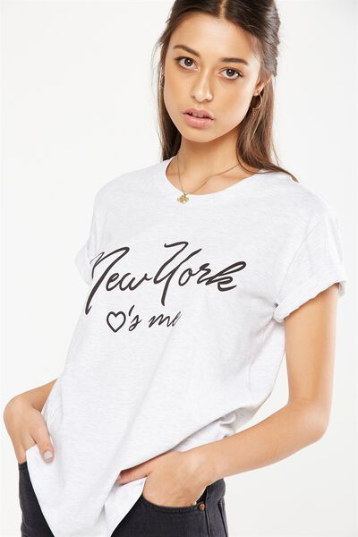 Tbar Fox Graphic T Shirt, NEW YORK LOVES ME/SILVER MARLE