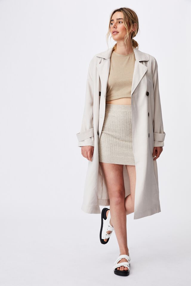 Casual Drapey Trench, TAUPE