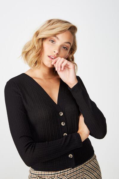 Angelina Button Through Cardi, BLACK
