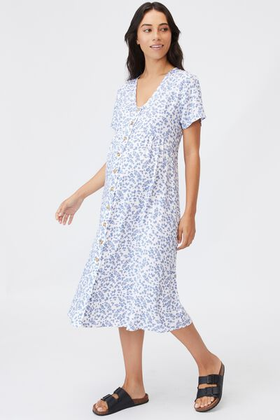 Maternity Woven Button Front Ss Midi Dress, CORA DITSY WHITE
