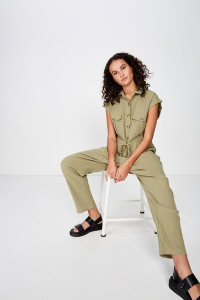 Woven Isabella Utility Jumpsuit, LIGHT OLIVE