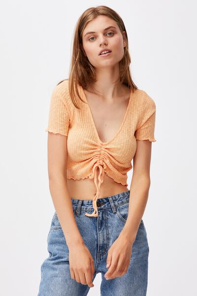 Jazmine Gather Front Short Sleeve, ICY APRICOT