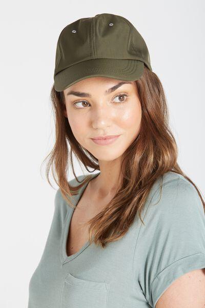 Essential Cap, KHAKI SATIN/SILVER EYELETS