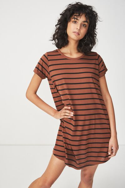 Tina Tshirt Dress 2, CACAO/BLACK MARIA STRIPE