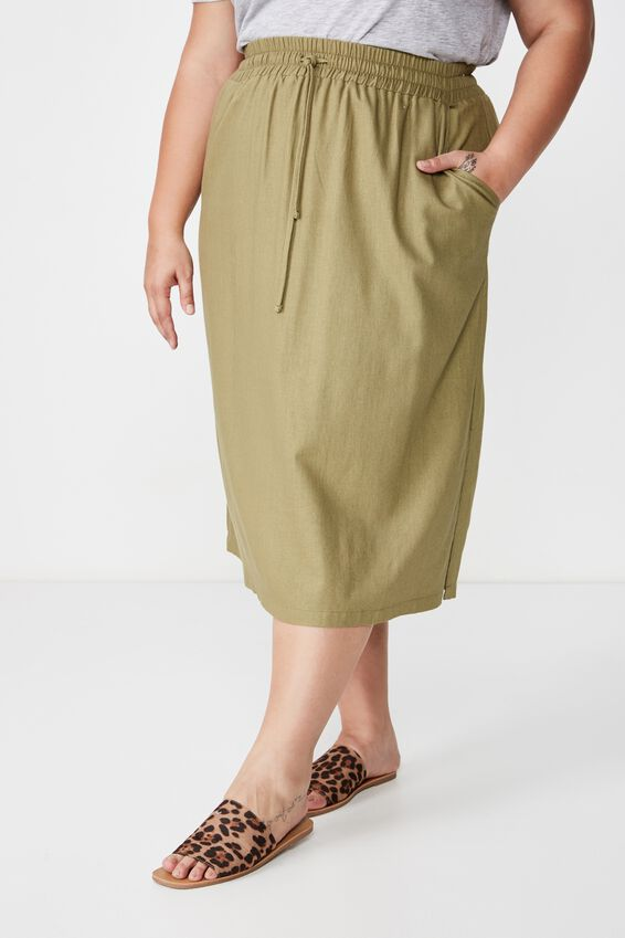 Curve Linen Draw Cord Skirt, LIGHT OLIVE