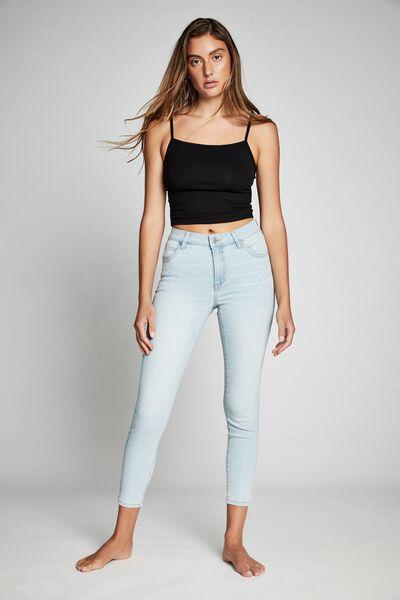 Mid Rise Cropped Skinny Jean, BROOKLYN BLUE RIPS