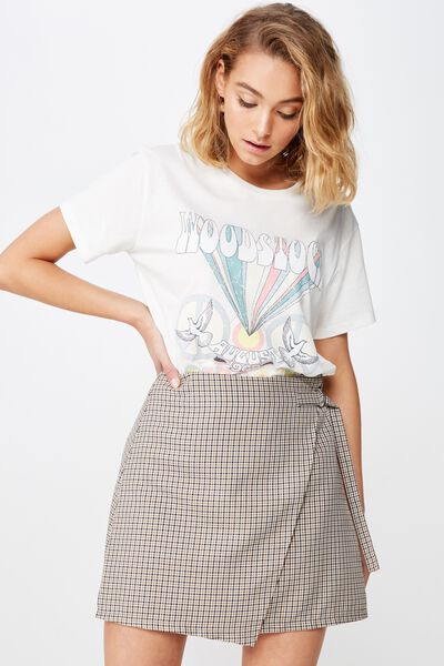 5574ff36c Woven Ivy Check Mini Skirt, MILLIE HOUNDSTOOTH BROWN