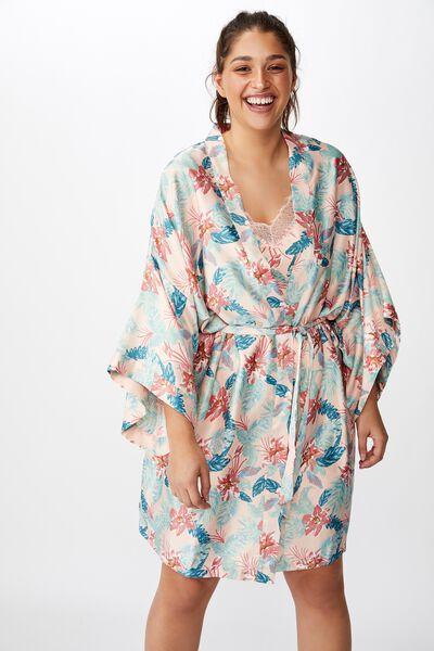 Curve Satin Kimono Gown, FADED HAWAIIAN