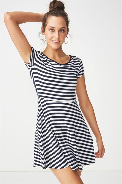 Billie Cap Sleeve Skater Dress, ANNA STRIPE MOONLIGHT/WHITE