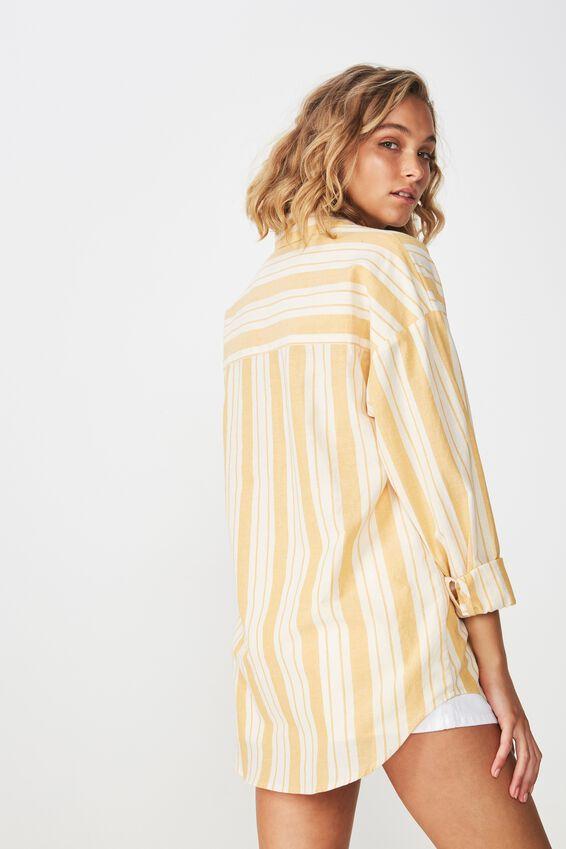 Casual Hudson Shirt, KELLY STRIPE SOFT GOLDEN YELLOW