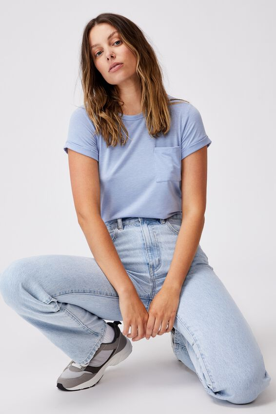 Kathleen Short Sleeve Top, VINTAGE BLUE MARLE