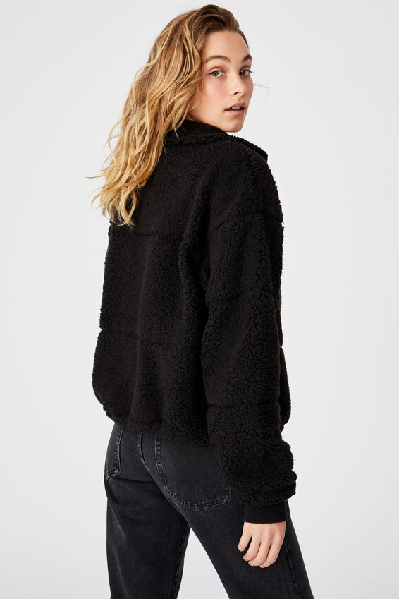 Tatum Zip Thru Teddy Jacket, BLACK