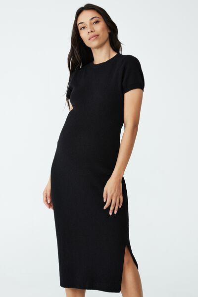 Maternity Friendly Set Up Midi Dress, BLACK