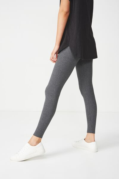 Dylan Long Leggings, CHARCOAL MARLE RIB