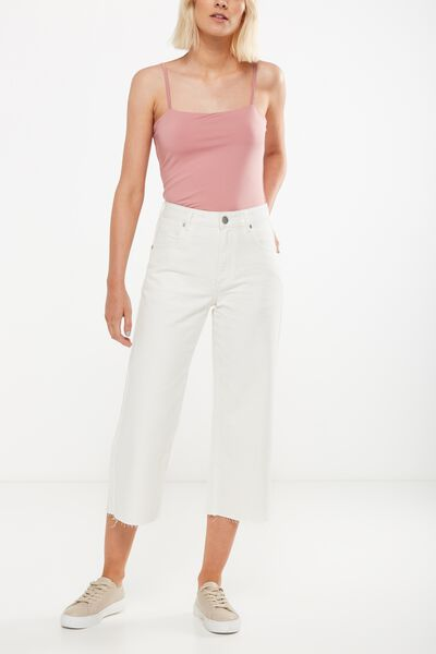Mid Rise Wide Leg Crop Jean, 90S WHITE