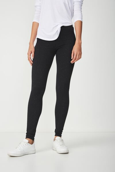 Dylan Long Leggings, BLACK/WHITE NEP