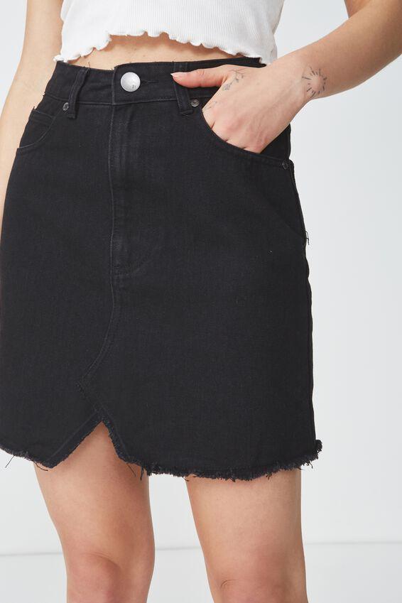 The Re-Made Mini Denim Skirt, WASHED BLACK