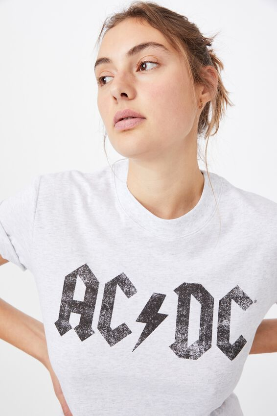Classic Acdc Back In Black T Shirt, LCN PER ACDC BACK IN BLACK/SILVER MARLE