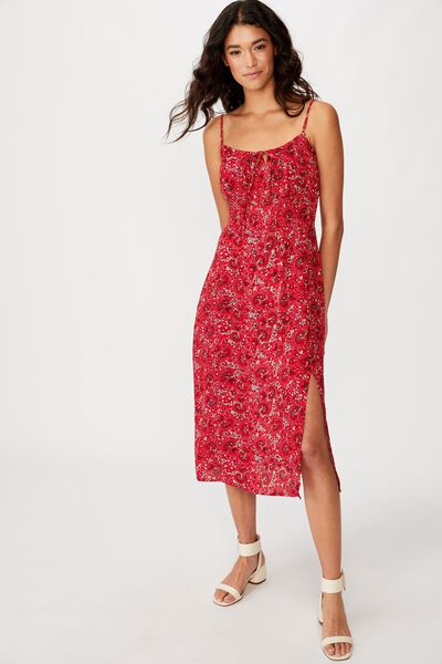 Woven Melody Strappy Midi Dress, JANE PAISLEY SCARLET