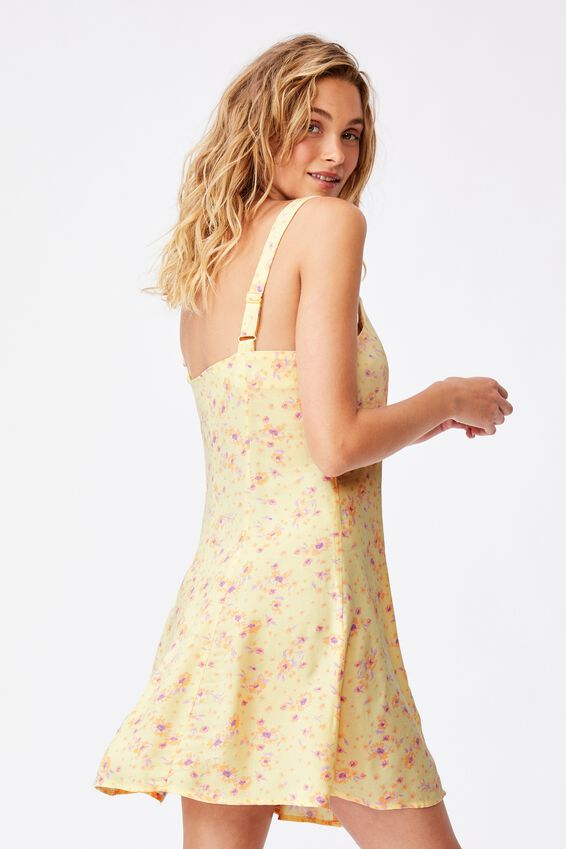 Woven Blair Button Through Strappy Mini Dress, ROWENA FLORAL LEMON