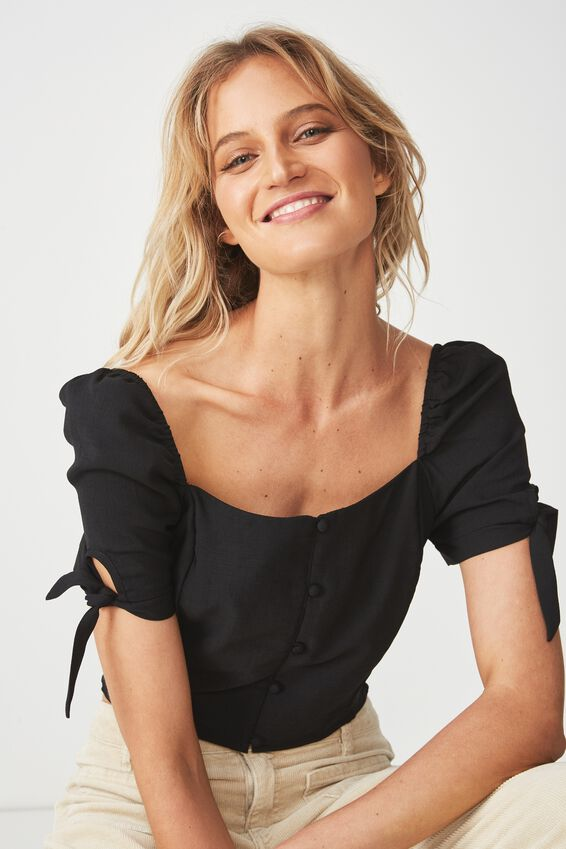 Perrie Square Neck Blouse, BLACK