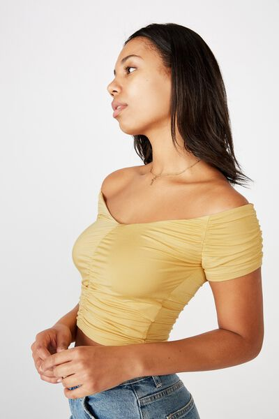 Lizzie Gathered Short Sleeve Top, NEW WHEAT