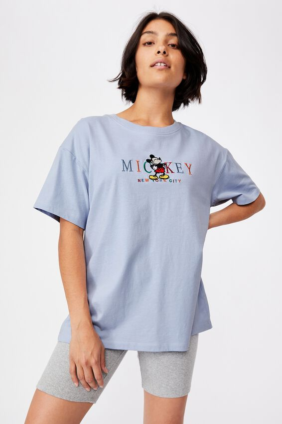 Original Cny Graphic License Tee, LCN DIS MICKEY MOUSE NYC EMBROID/SILVER BLUE