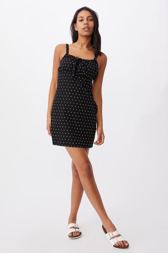 Woven Layla Tie Front Mini Dress, AMY SPOT BLACK