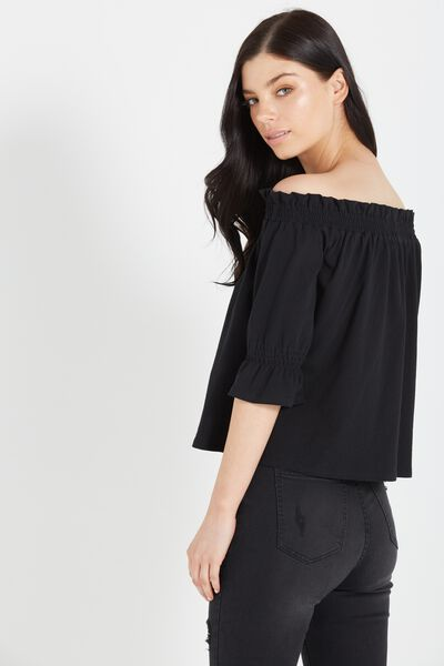 Stacey Off The Shoulder Ruffle Top, BLACK