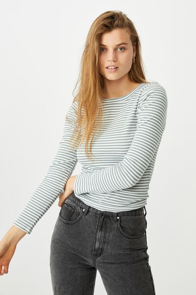 The Turn Back Long Sleeve Top, SOPHIE STRIPE FALL GREEN/WHITE