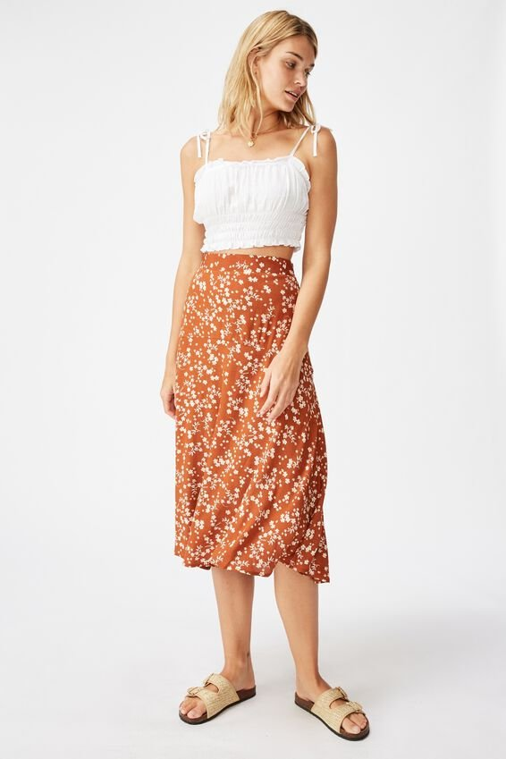 Botanical Midi Skirt, MILLIE FLORAL DARK GINGER