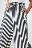 High Waist Culotte 2, CHLOE STRIPE NAVY BUCKLE