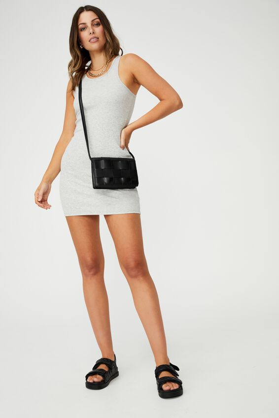 Hurley Racer Bodycon Mini Dress, LIGHT GREY MARLE