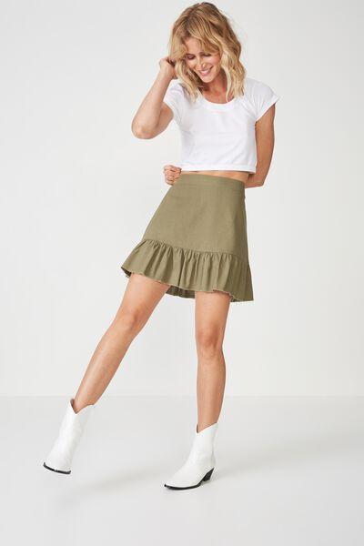 Woven Jordana Mini Skirt, KHAKI